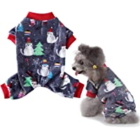 Vehomy - Pijama de Navidad para perro con diseño de copo de nieve de árbol de Navidad, suave forro polar para mascotas…