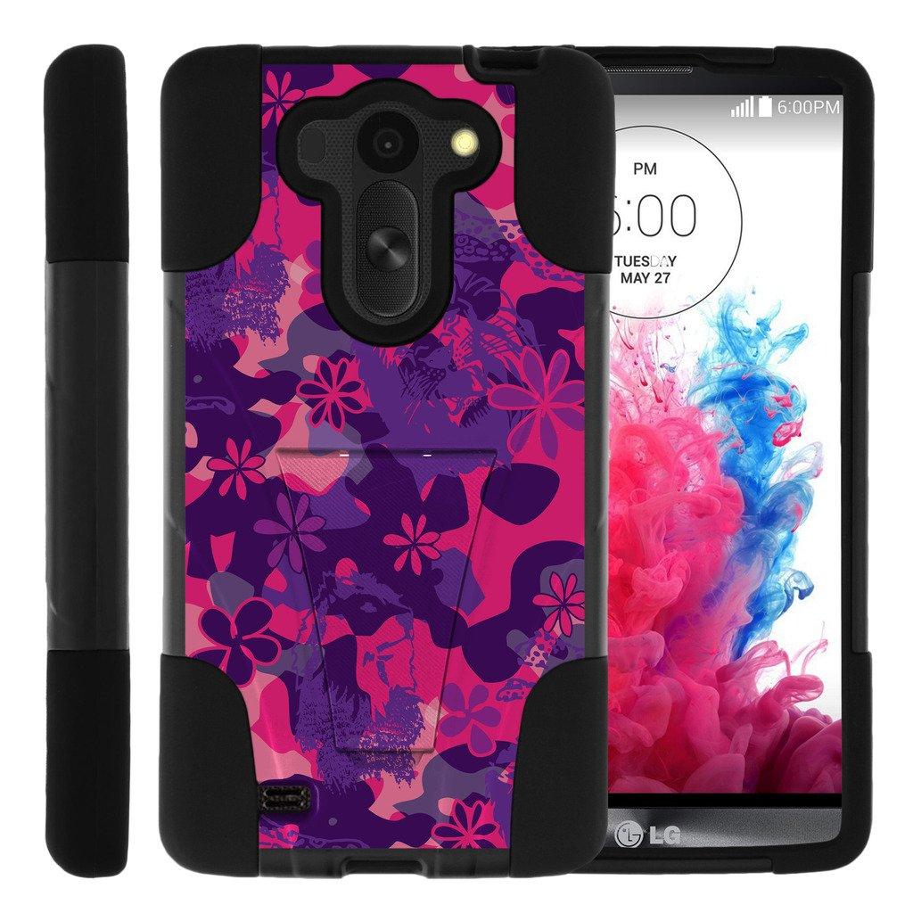 TurtleArmor | LG G Vista Case | VS880 | LG G Pro 2 Lite | D631 [Gel Max Cover] High Impact Proof Hard Kickstand Case Layer Hard Combo Camouflage Design Set - Pink Purple Flowers