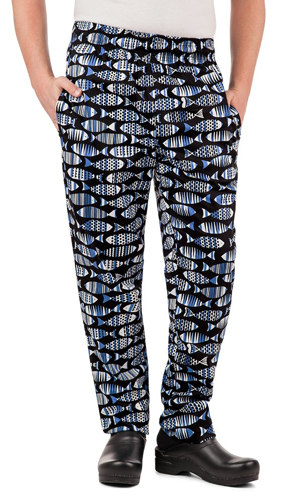 Men's Fishbone Print Chef Pant (XS-3X) (Small)