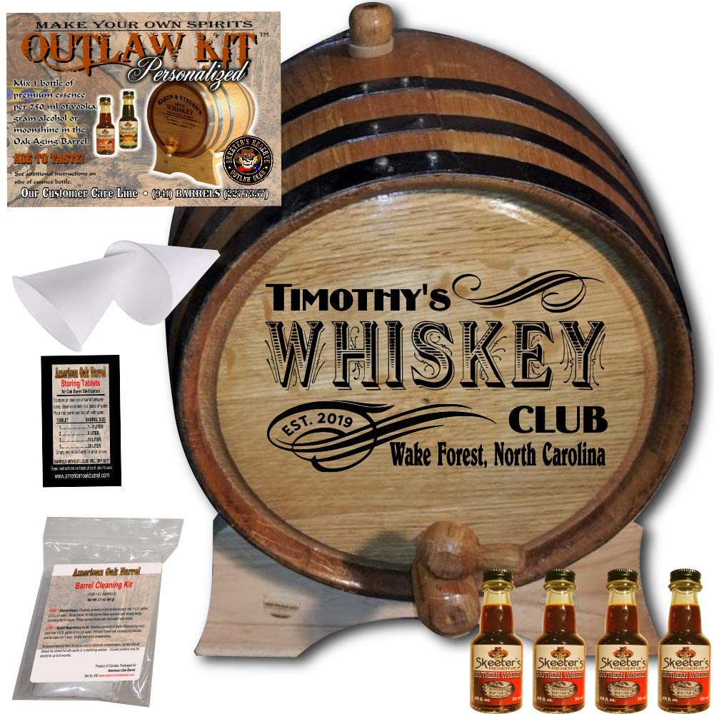 Personalized Whiskey Making Kit (203) - Create Your Own Southern Whiskey - The Outlaw Kit from Skeeter's Reserve Outlaw Gear - MADE BY American Oak Barrel - (Oak, Black Hoops, 3 Liter)