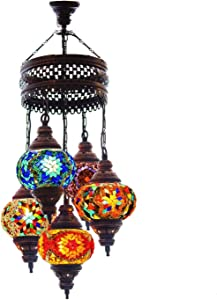 Turkish Authentic 5 Globe Mosaic Chandelier Mosaic Lamp Moroccan Lantern