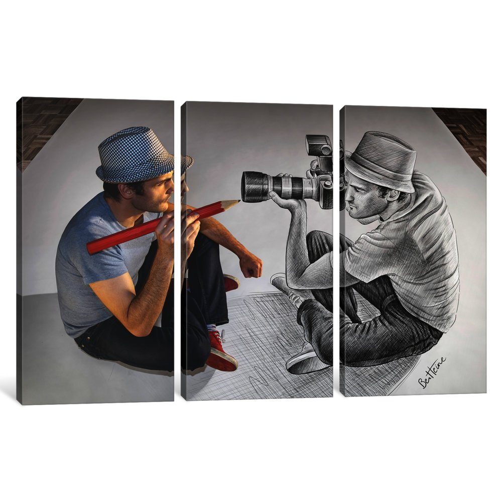 iCanvasART 3-Piece Pencil Vs Camera 73-Illustrator Vs Photographer Canvas Print by Ben Heine 1.5 by 40 by 60-Inch