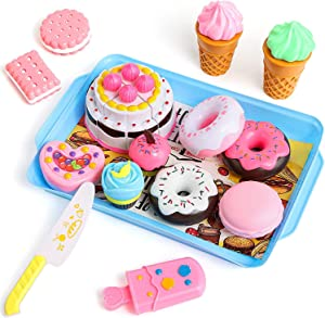 ZJP Desserts Food Toy, 15 Pcs Play Food Set - Pretend Cutting Play Cake Ice Cream and Realistic Fake Donuts Tea Party - Birthday Gifts Set Fake Food Toy for Boys, Girls,Frozen Dessert Accessories