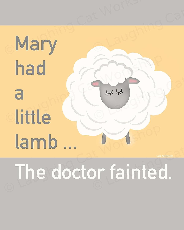 Funny Back to School Nurse art Comics cartoon Doctors medical office decor Joke OB GYN office art Obstetrics Women art print Farm Sheep Lamb Art