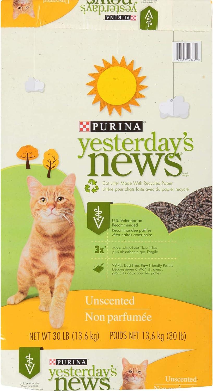 Purina Yesterday's News Non Clumping Paper Cat Litter, Unscented Low Tracking Cat Litter - 30 lb. Bag : Pet Litter : Pet Supplies