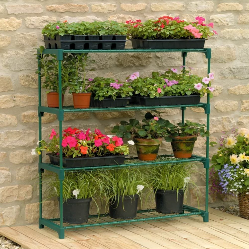 Amazon com greenhouse anchors for green house staging 4 tier contemporary green modern minimalistic greenhouse shelves kit for plants e book garden