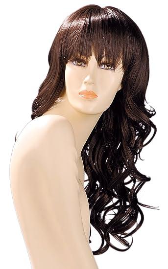 World Wigs Peluca Castaño Larga con cabello rizado/flequillo: Amazon.es: Belleza