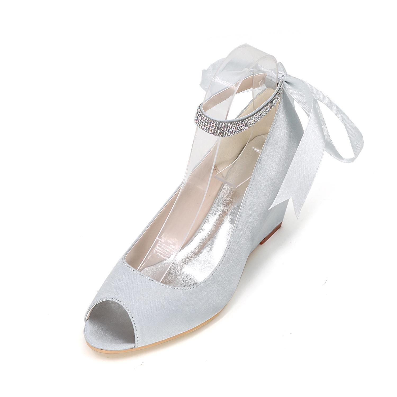 Elegant Frauen Frauen Elegant Satin Wedge Ferse Sandalen mit Bowknot und Imitation Perle Hochzeit Schuhe (mehr Farben) Silver 03ef2c