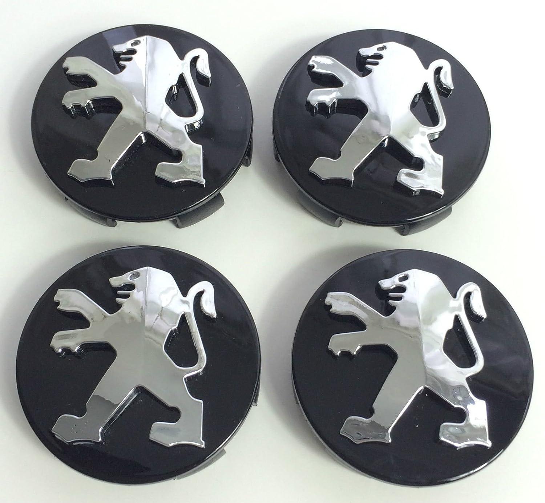 Juego de 4 tapacubos de alta calidad Peugeot, 60 mm, aleación, logotipo con emblema color negro cromado, tapacubos para las llantas, para Peugeot 106, 107, ...