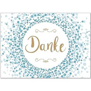 15 X Dankeskarten Mit Umschlag Konfetti Blau