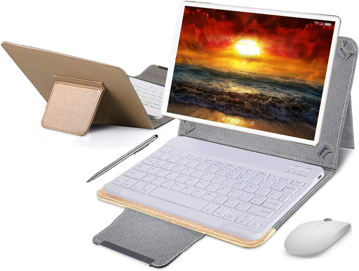 Tablet 10 Pulgadas 4G Full HD 4GB de RAM 64GB de ROM Android 9.0 Certificado por Google GMS Tablet PC Batería 8500mAh Quad Core Dual SIM 8MP Cámara Google Netflix WiFi Bluetooth GPS OTG(Oro)