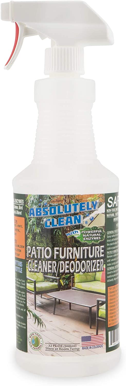 AmazingPatioFurniture Cleaner - Natural Enzymes Easily Remove Dirt, Bird Droppings, Food and Mildew Stains and More from Your Outdoor andPatioFurniture - USA Made
