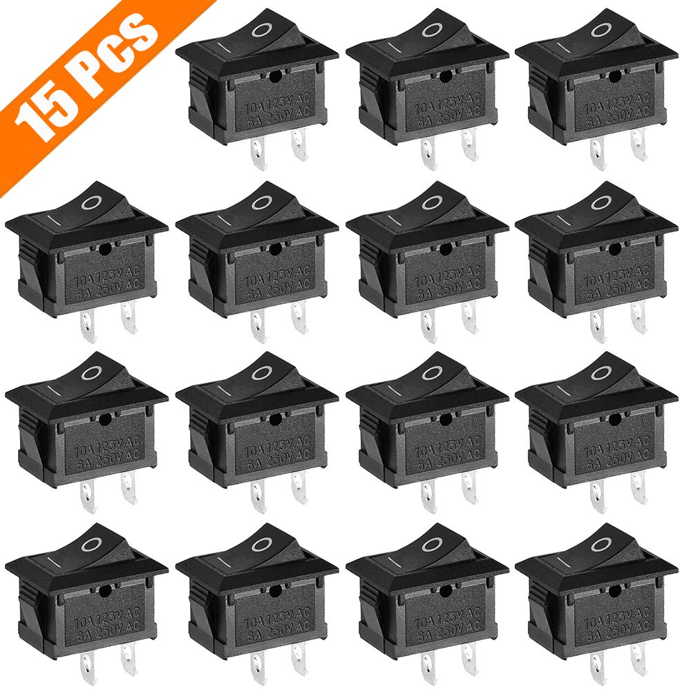 ZUPAYIPA 15 Pcs AC 6A/250V 10A/125V 2 Solder Lug SPST On/Off Mini Boat Rocker Switch Car Auto Boat Round Rocker 2 Pin Toggle SPST Switch Snap