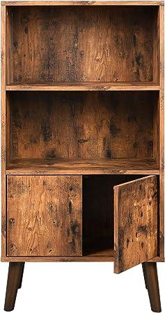 VASAGLE Biblioteca Rústica, Estantería de 3 Niveles con Puertas, para Libros, Fotos, Decoraciones en Salón, Estudio, Estilo Moderno, Marrón LBC09BX: Amazon.es: Hogar
