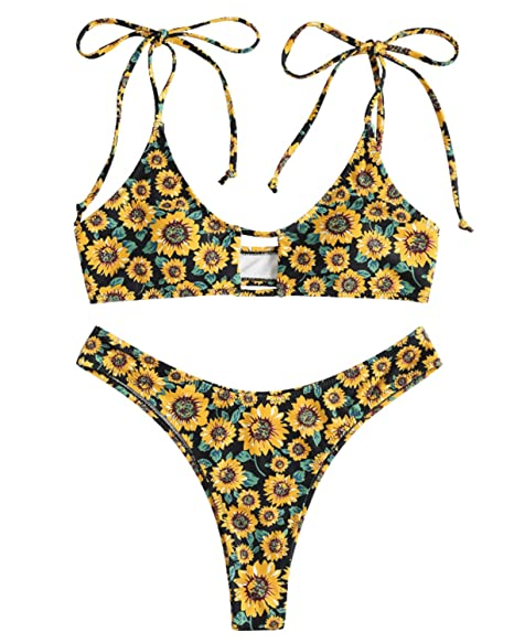 908c5725e53 Amazon.com: ZAFUL Tie Shoulder Sunflower Keyhole Bikini Set High Cut Thong  Swimsuit Bathing Suits: Clothing