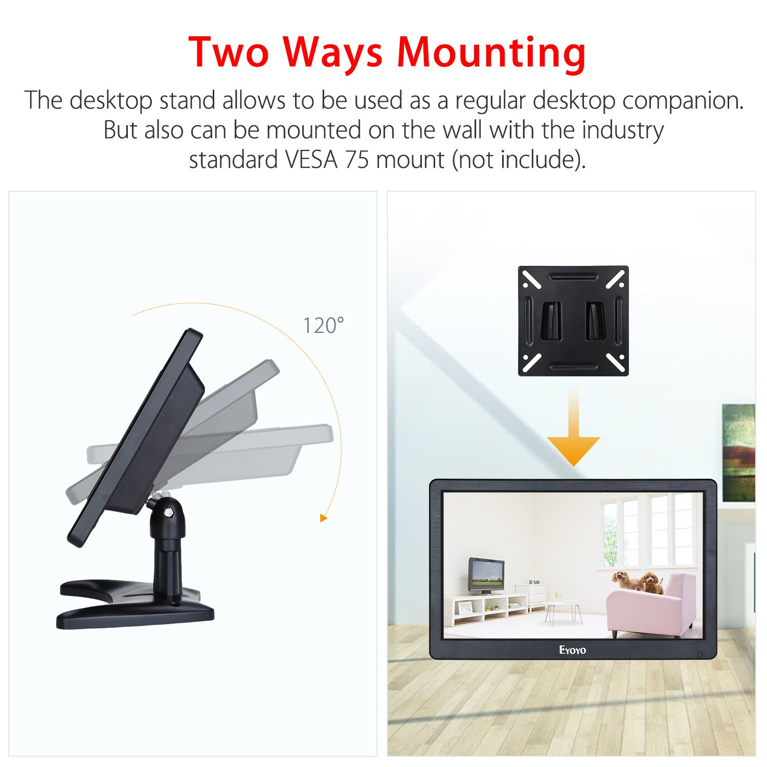 Eyoyo 12 inch HD 1920x1080 IPS LCD HDMI Monitor Screen Input Audio Video Display with BNC Cable for PC Computer Camera DVD Security CCTV DVR Home Office Surveillance by Eyoyo (Image #3)
