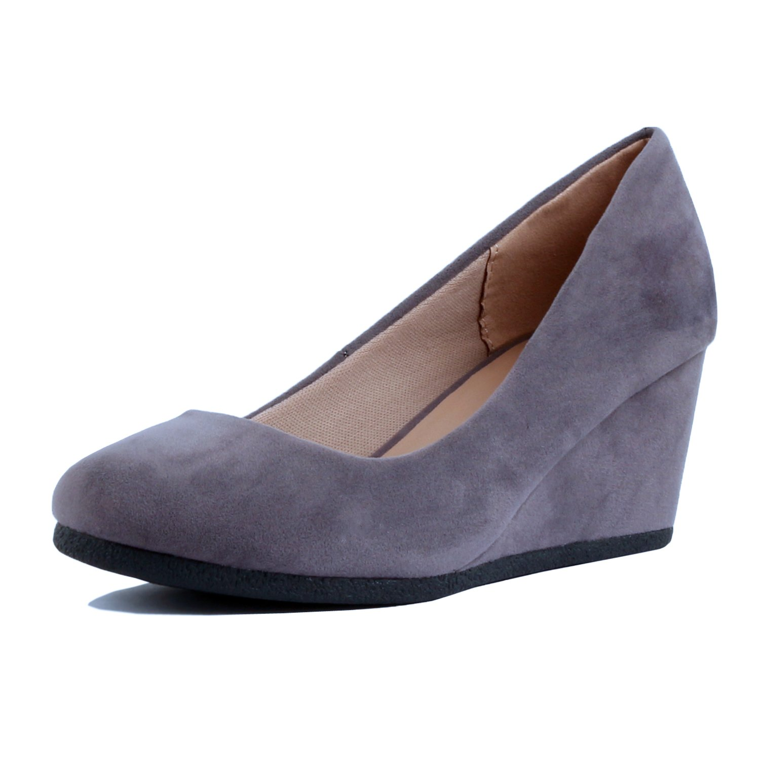 Guilty Shoes - Classic Office Wedge - Comfort Soft Mid Low Heel Round Toe Wedge Pumps (8 B(M) US, Grey Suede)