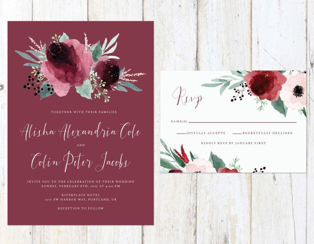 Marsala and Blush Wedding Invitation, Floral Wedding Invitation, Maroon Roses Wedding Invitation by Alexa Nelson Prints