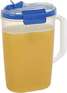 SnapLock by Progressive Juice Pitchers 2.0 Liter Container - Blue, Easy-To-Open, Leak-Proof Silicone Seal, Snap-Off Lid, Stackable, BPA FREE