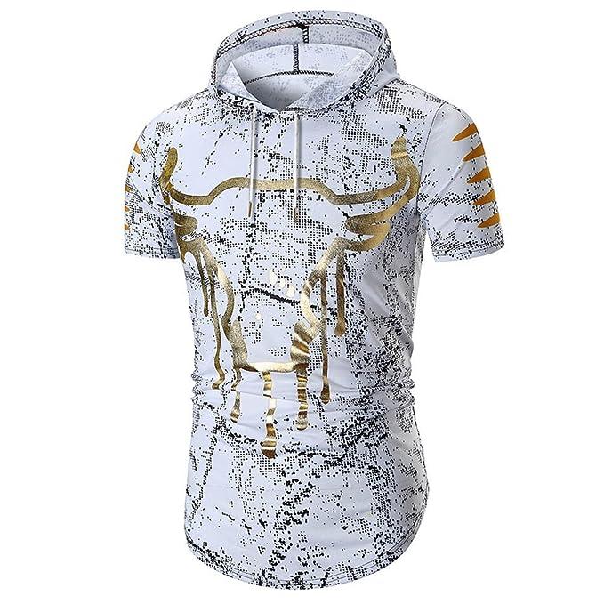 Camisas Hombre Lanskirt Camisa de Verano de Manga Corta Sudadera con Capucha de Irregular Estampado Dorado Blusa Tops para Hombres T Shirt Polos Ropa ...