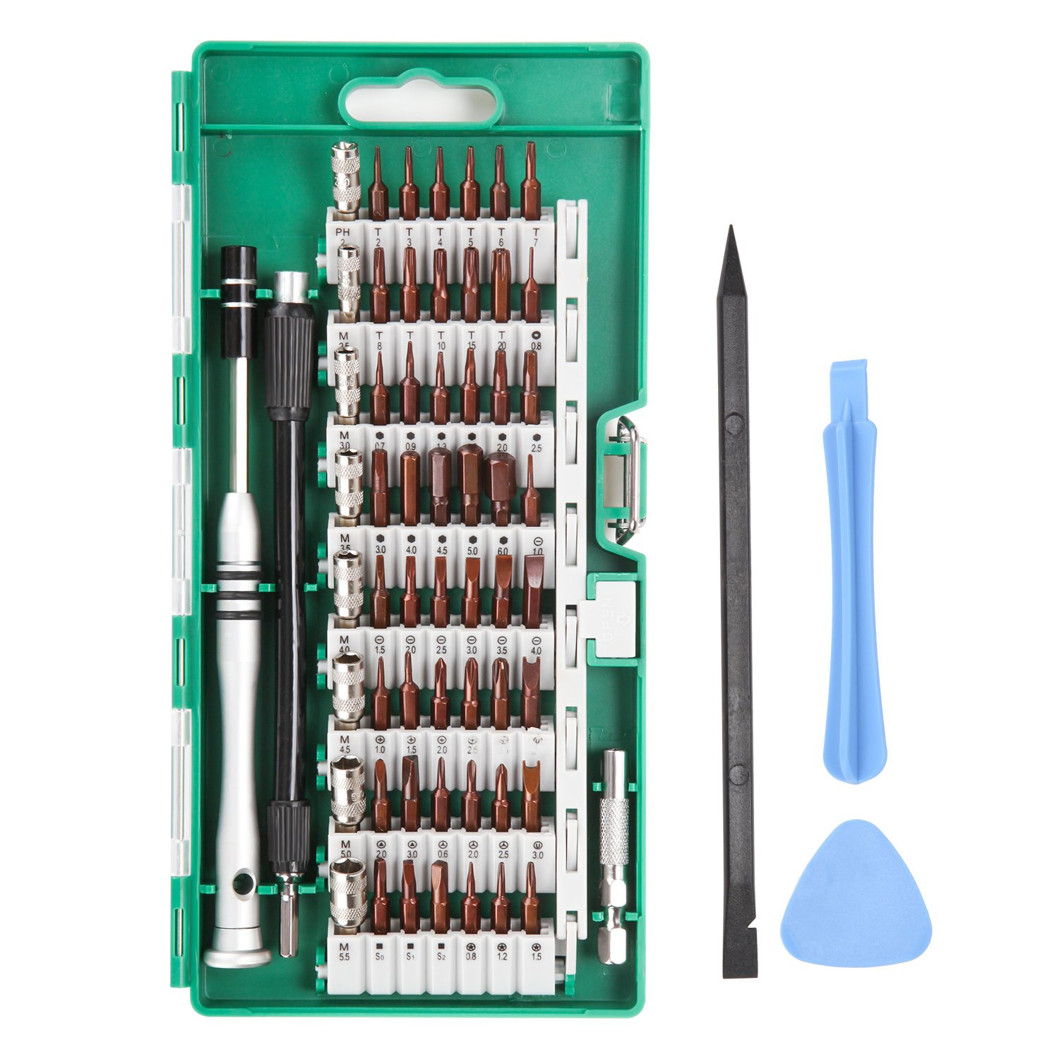 UFire 63 in 1 Precision Screwdriver Set with 56 Bit Magnetic Screwdriver Kit Electronics Repair Tool Kit for iPhone, Tablet, Macbook, Xbox, Cellphone, PC, Game Console - Green