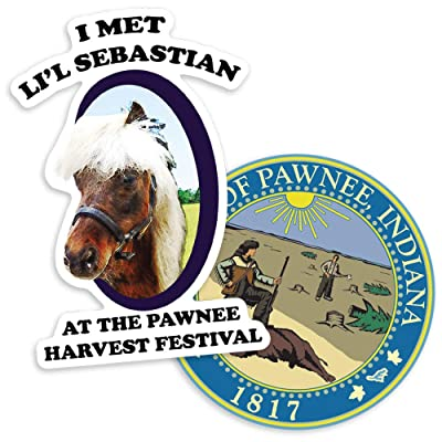 Parks and Rec L'il Sebastian and Pawnee Logo Collectible Stickers: Home & Kitchen