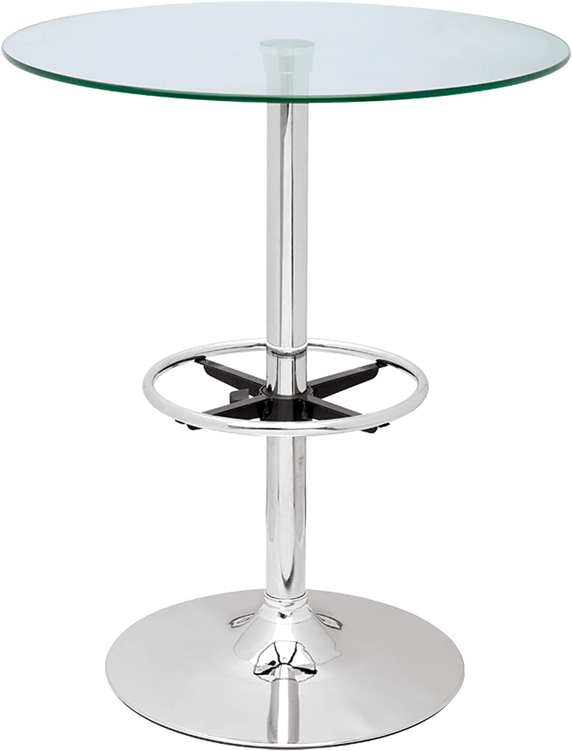 Chintaly Imports Pub Table with Round Glass Top, Chrome Clear