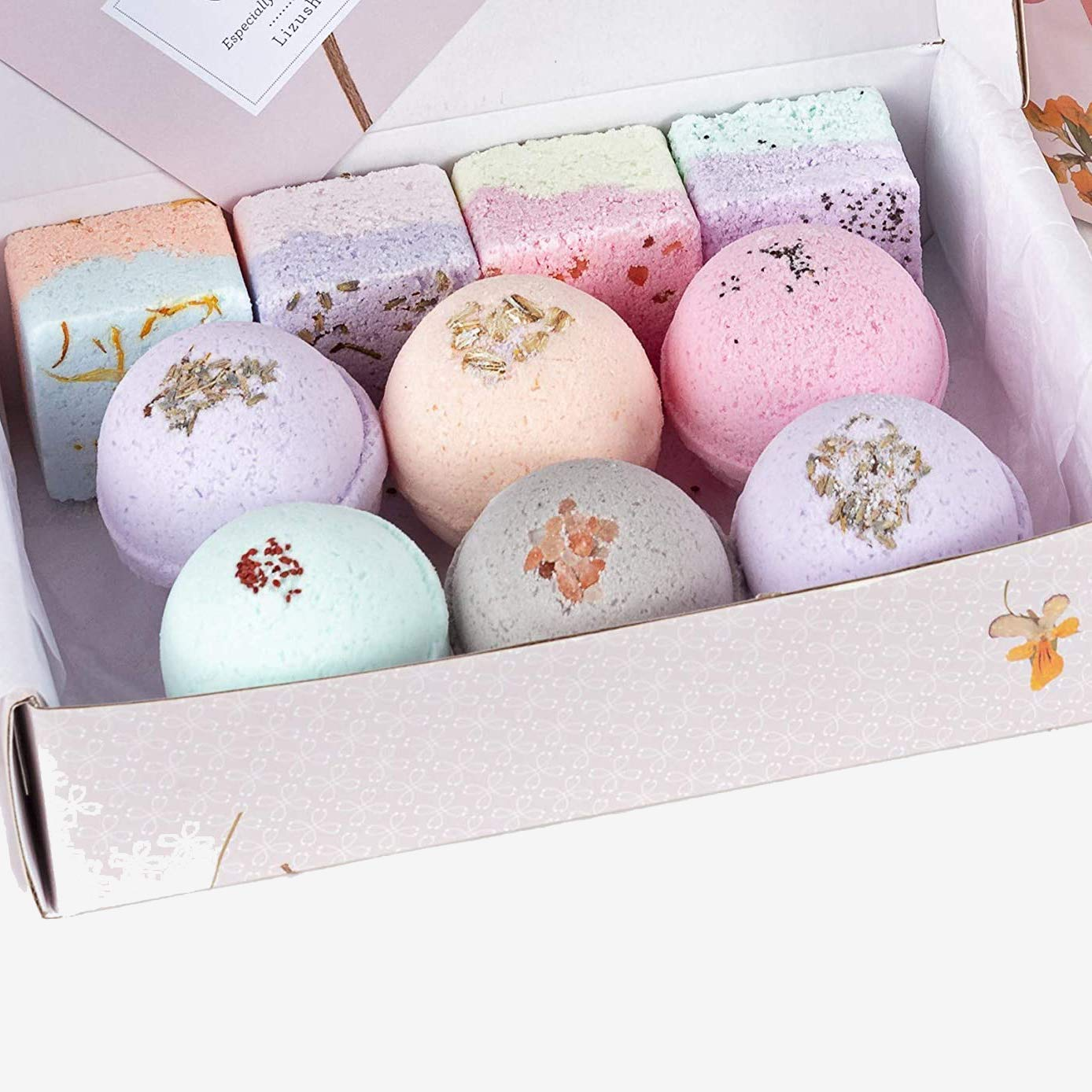 Handmade Moisturize Bath Bombs for Dry Skin Wife Mother by Lizush. Luxurious Premium Quality Special Gift for Woman Bath bombs Gift Box Natural Handmade Spa Bath Salts Fizzies Set of 10