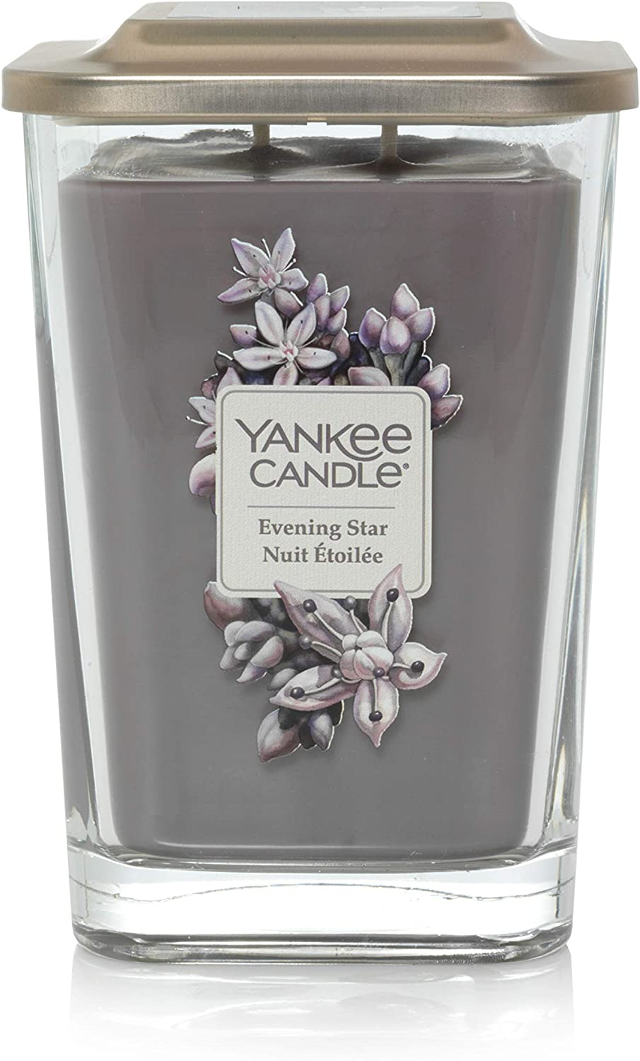 YANKEE CANDLE Elevation Coll. W/PLT Lid - Large Square Candle with 2 Large Wick Evening Star 1591065E