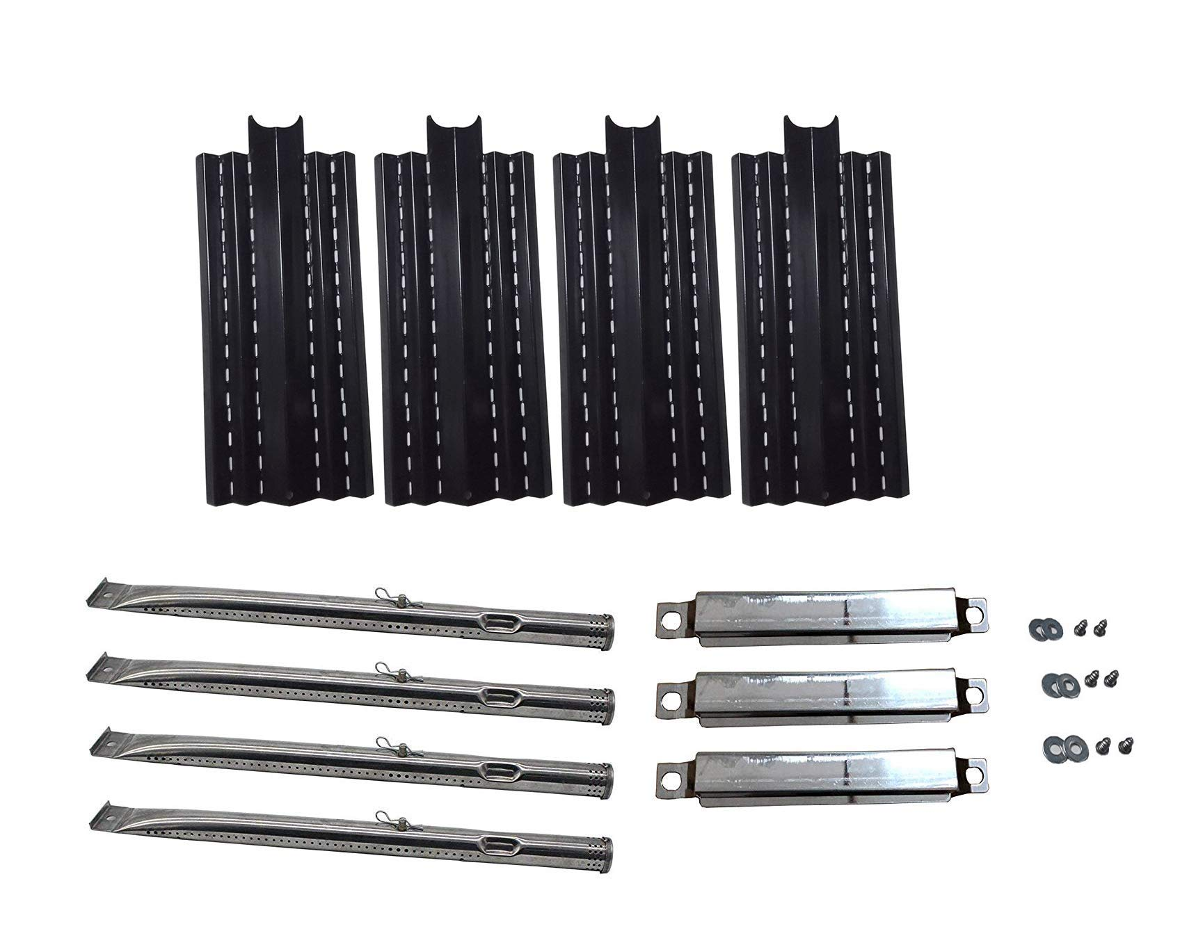 Zljoint Replacement Porcelain Steel Heat Plates and Stainless Steel Grill Burner Crossover Tube for Kenmore 415.23666310, 415.23667310, 640-05057299-9,