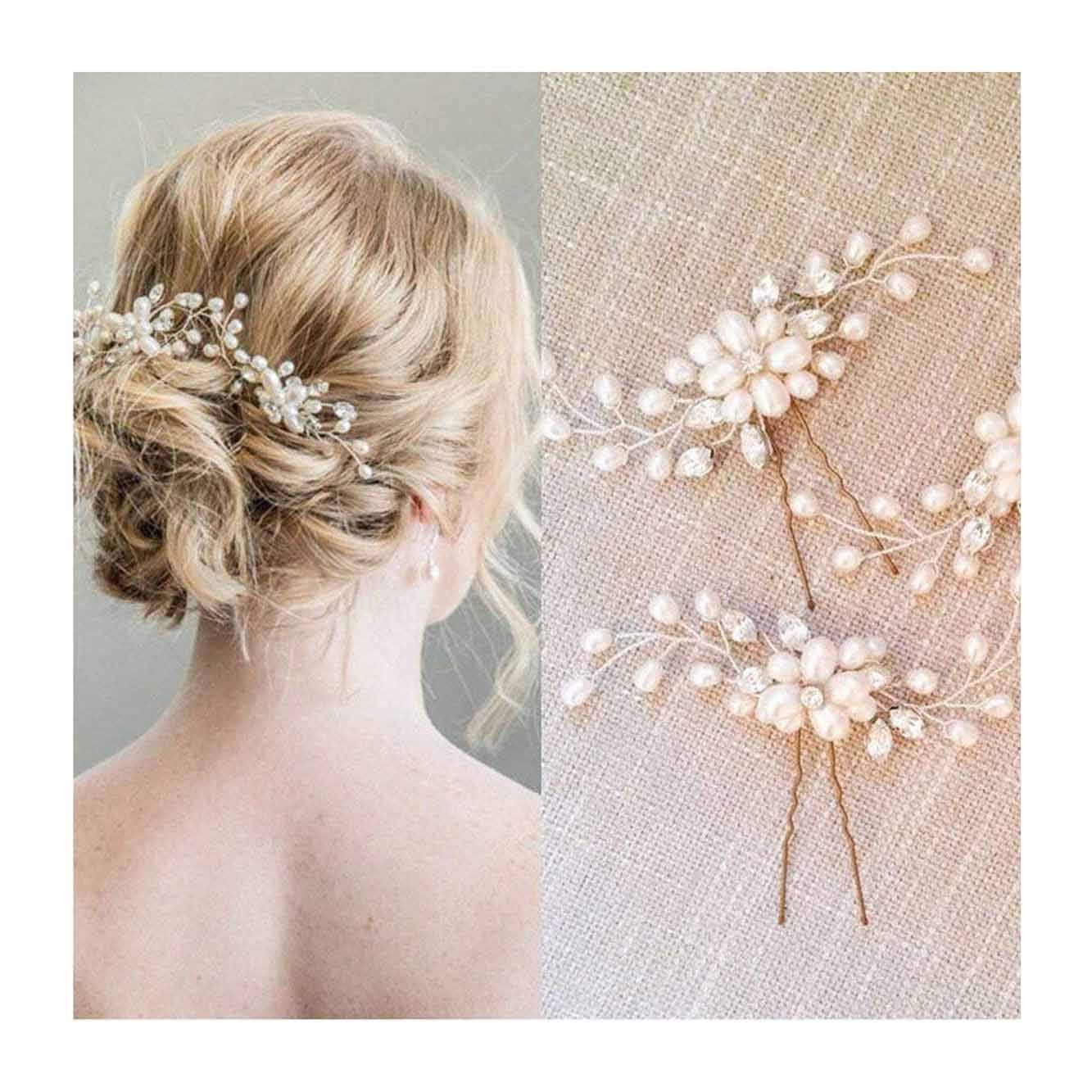 Unicra Wedding Hair Pins Hair Set Jewelry Decorative Bridal Hair Accessories for Brides and Bridesmaids Pack of 2 Gold
