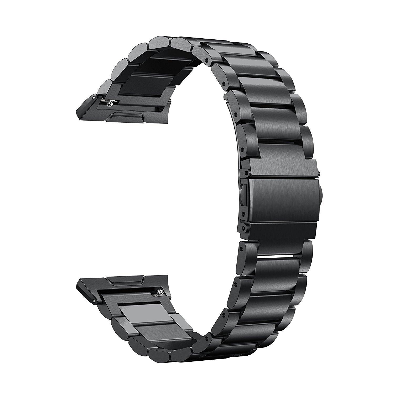 TOOGOO For Fitbit Ionic 316lステンレススチールストラップ、ステンレススチール交換バンドFitbit Ionic腕時計(シルバー), ブラック B079CB1Z4Pブラック