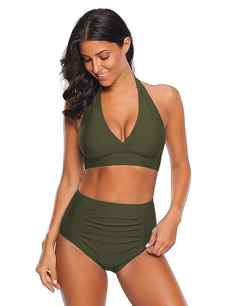 Amazon.com: Luvamia Halter traje de baño de dos piezas con ...