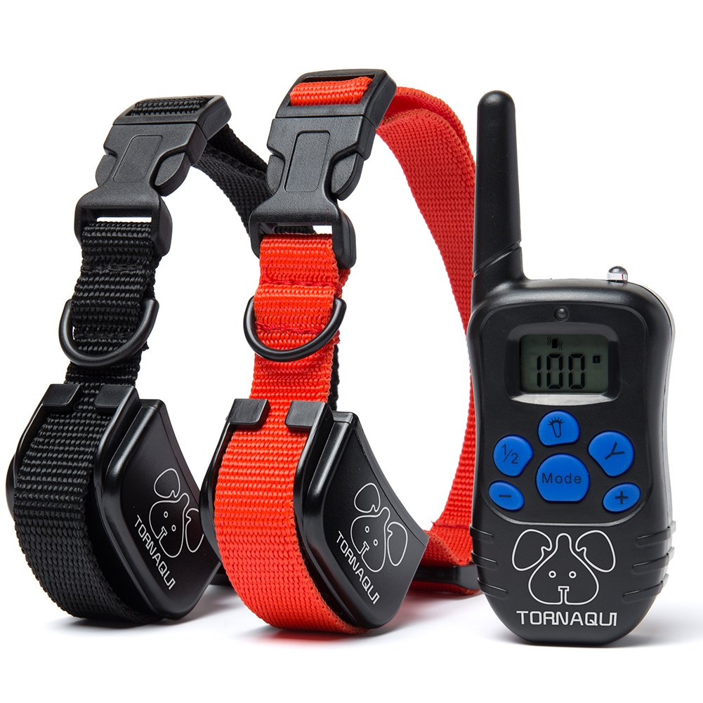 Tornaqui Dogs Shock Collar Training Anti-Bark Collar With Remote Rechargeable Beep Vibration Static Pets