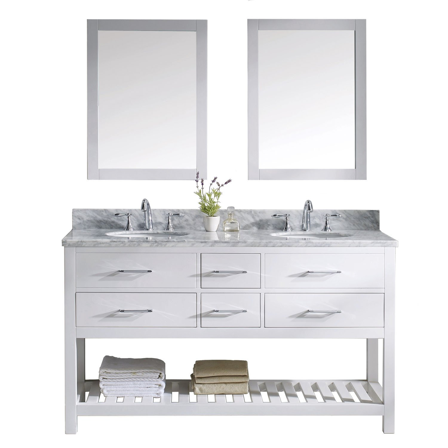 Virtu USA MD-2260-WMRO-WH Transitional 60-Inch Double Sink Bathroom ...