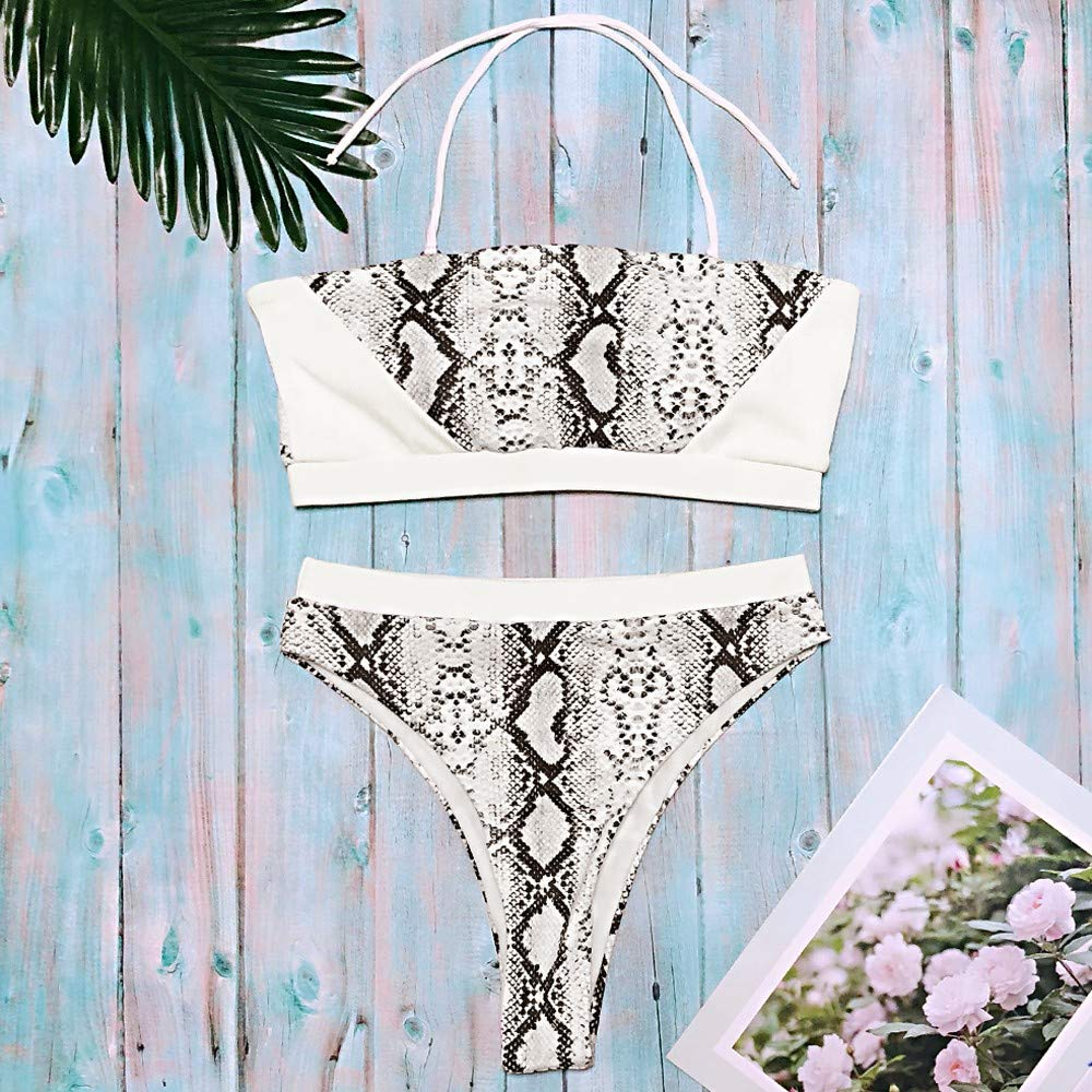 da843d8b7c Amazon.com  Mysky Fashion Women Sexy Snakeskin Tube Top Thong Bikini  Swimwear Ladies Summer Casual Beachwear Swimsuit  Clothing