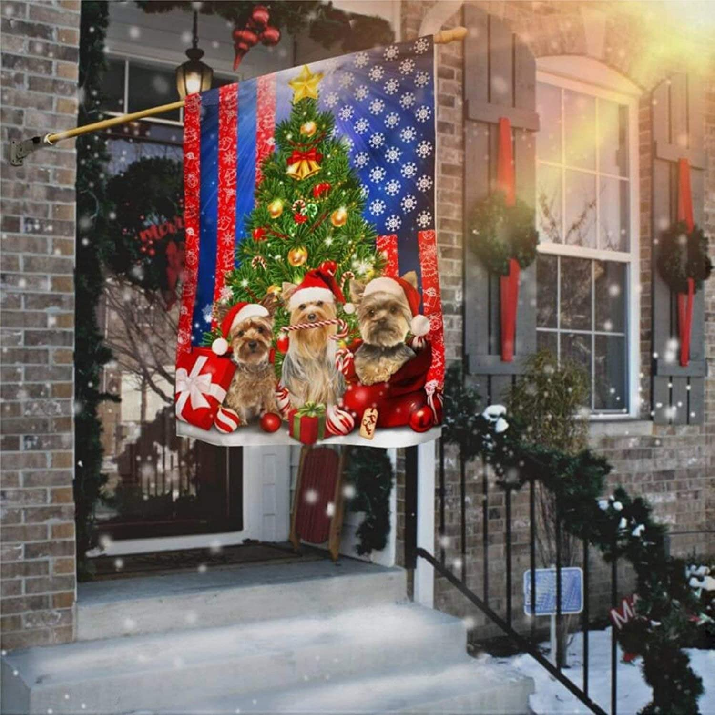 "Garden Flag Merry Christmas Flag, Yorkshire Terrier Dog Yard Decor House Decor Flag Seasonal Banners for Patio Lawn Outdoor 12x18"""