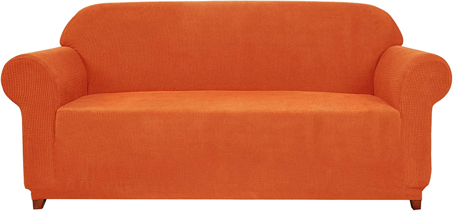Subrtex 1-Piece Jacquard high Stretch Couch slipcover, Furniture Protector for Settee Spandex Washable 3 Seater Cushion Cover Coat (Sofa, Orange)