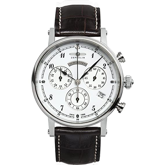 Zeppelin Watches 7577-1 - Reloj analógico para mujer de cuero blanco: Amazon.es: Relojes