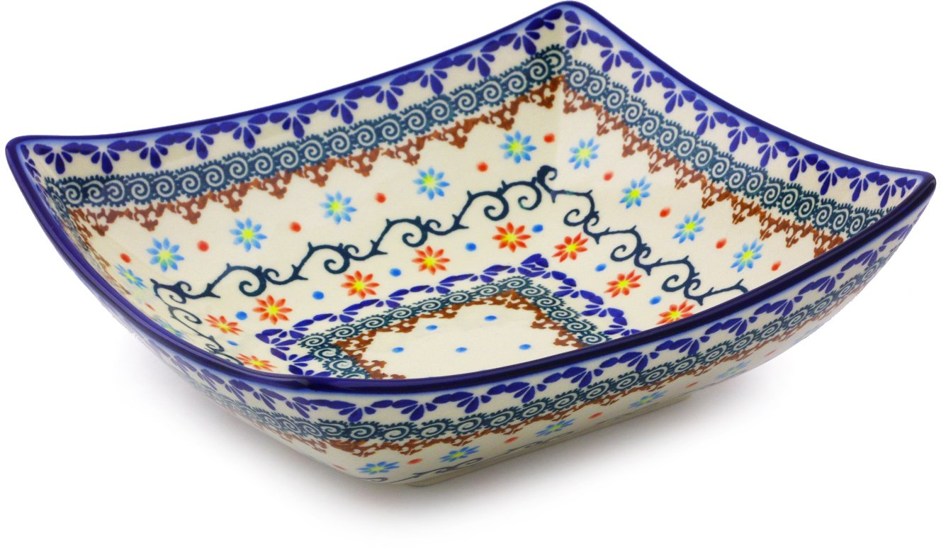Polish Pottery 7¾-inch Square Bowl (Sunflower Dance Theme) + Certificate of Authenticity