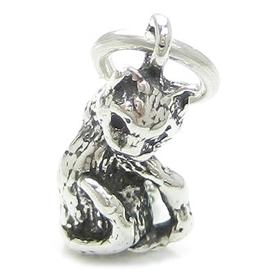 Gato de plata de ley 925 para pulsera. 1 x colgantes de gatos de tela Pussy CF3964-SM: Amazon.es: Joyería