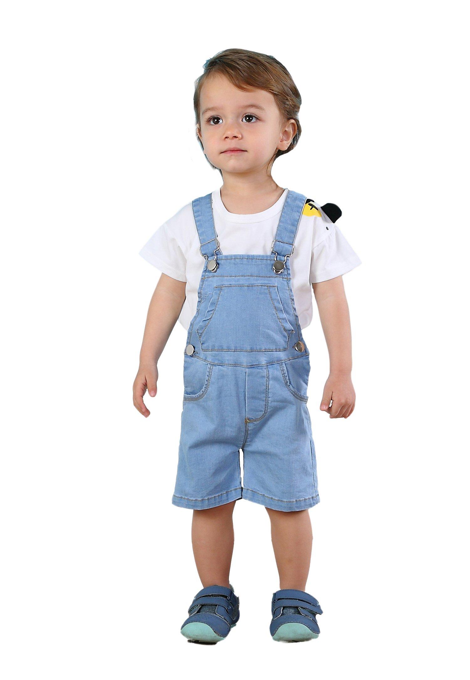 Kidscool Baby & Toddler Girls/Boys Bibs Light Blue Summer Jeans Shortalls,Light Blue,3-4 Years