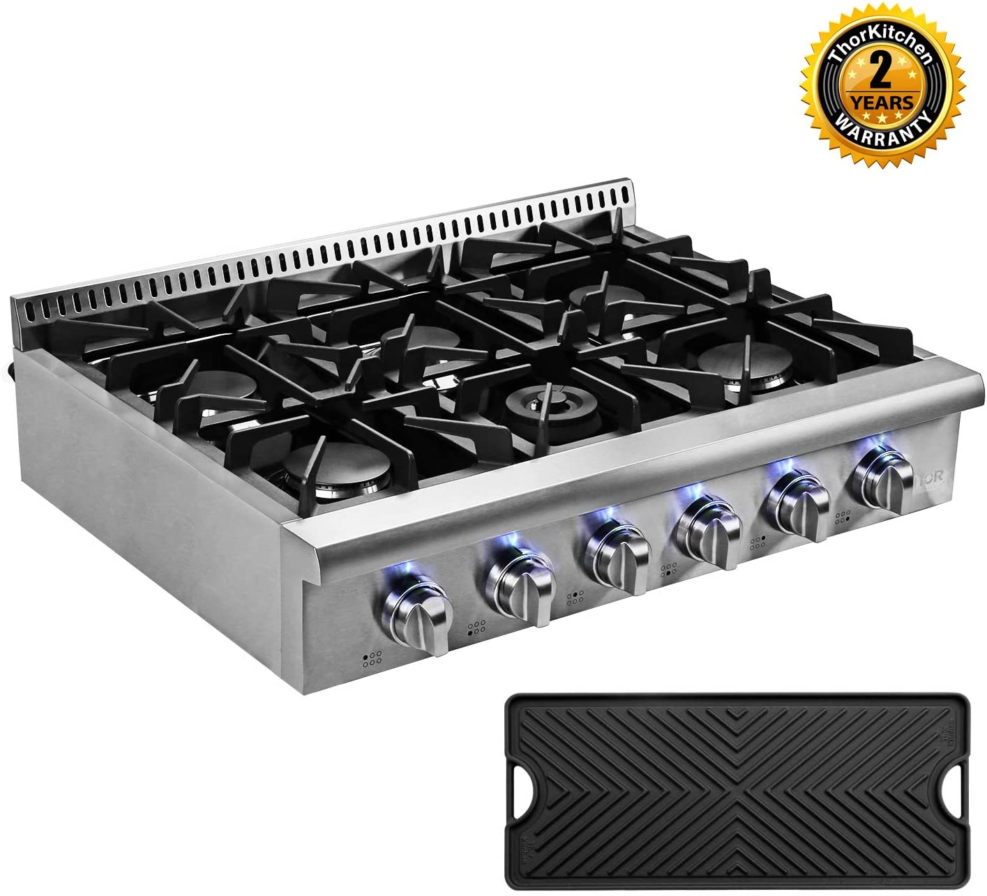Thor Kitchen Pro-Style 36'' Gas Rangetop with 6 Sealed Burners