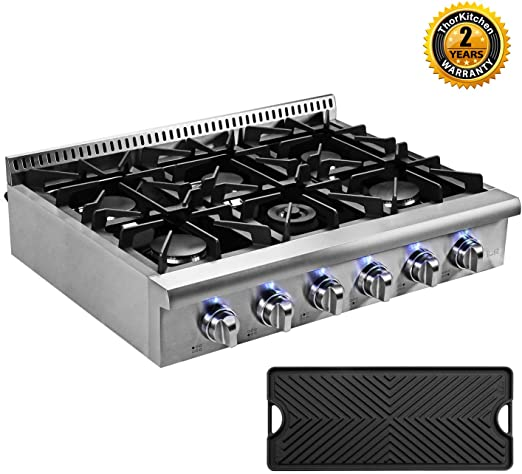 Inch Thor kitchen Pro-Style Gas Rangetop with 6 Sealed Burners 36 LP Conversion Kit Stainless Steel HRT3618U