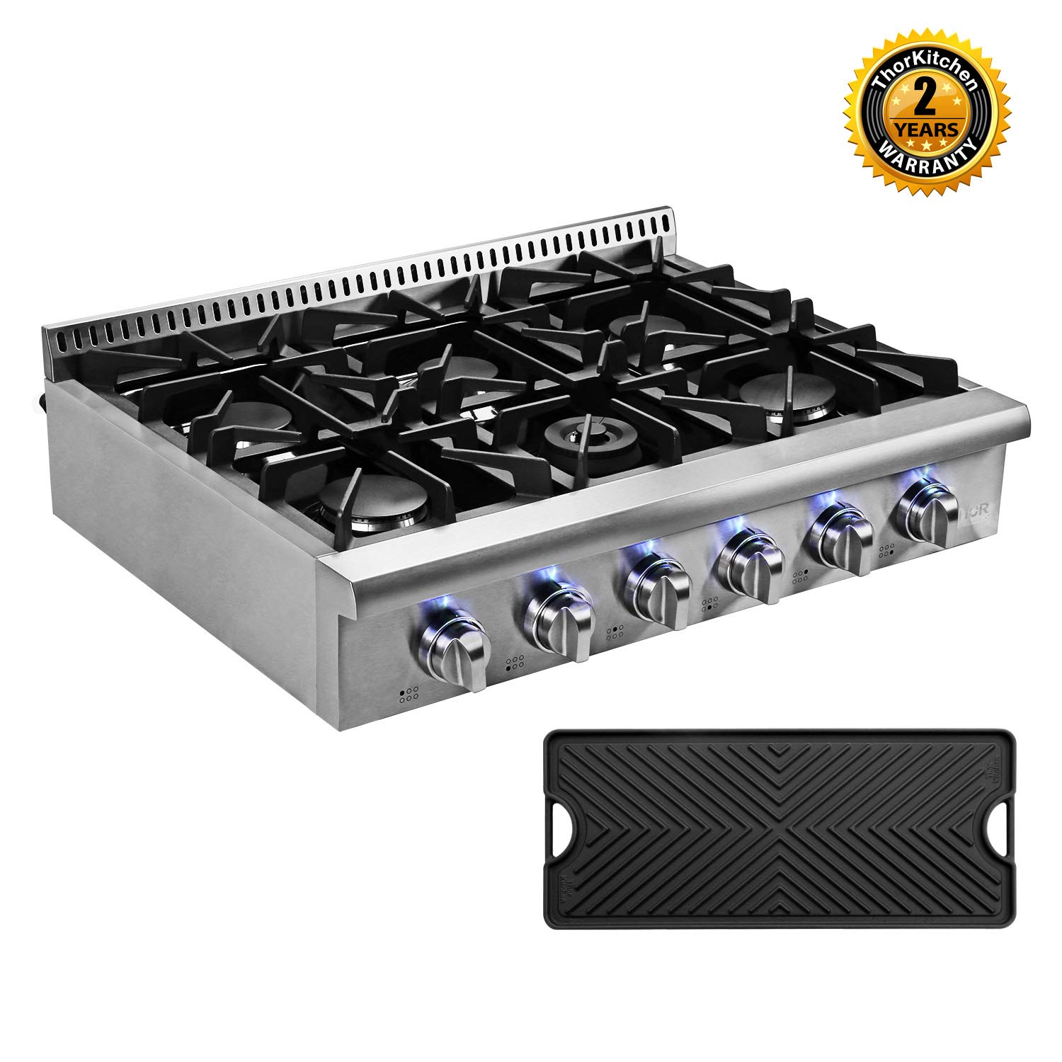 Thor Kitchen Pro-Style 36'' Gas Rangetop with 6 Sealed Burners, Flat Cast-Iron Grates, Cast-Iron Reversible Griddle, Stainless Steel HRT3618U