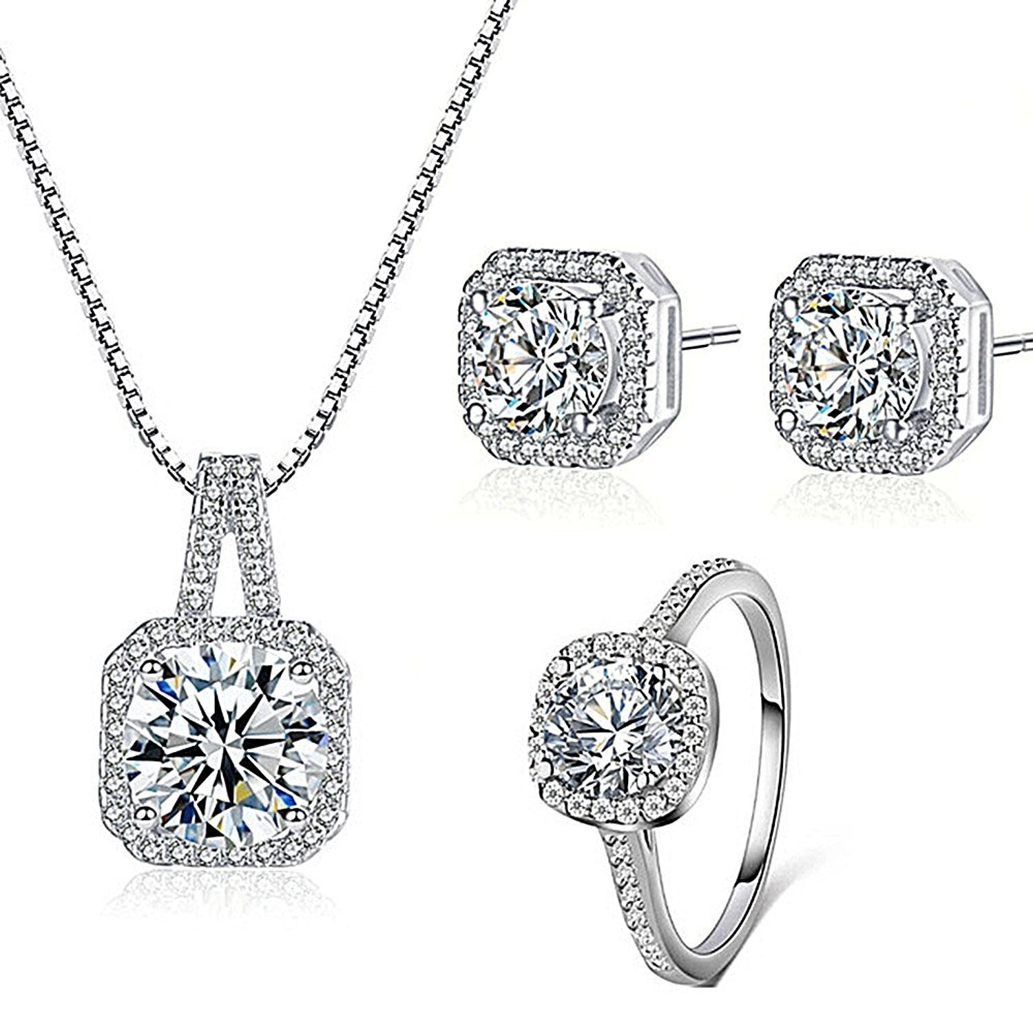 Majesto 925 Silver Plated Necklace Pendant Halo Cushion Cut Bridal Engagement Jewelry Set For Women Gift