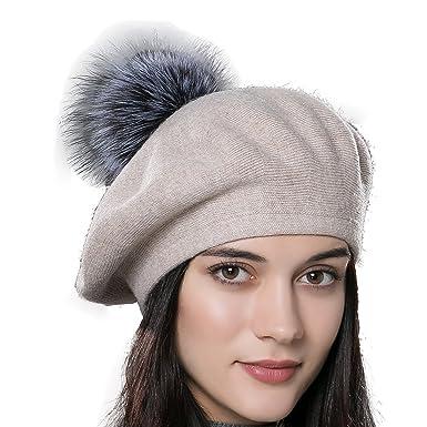 URSFUR Unisex Winter Hat Womens Knit Wool Beret Cap with Fur Ball ... 1b7b9ca643b