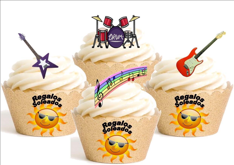 12 x - Guitarras, tambores y notas musicales multicolor- Mezcla ...