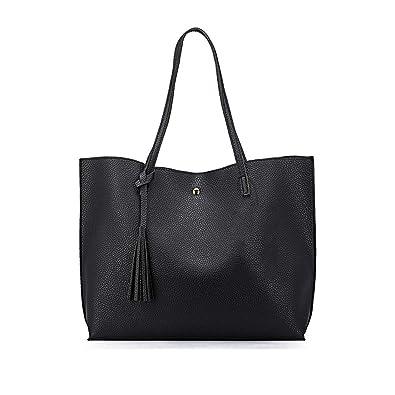 Casual Women Pu Leather Tote Bag With Tassel Shoulder Bag,Black,35X12X30 Cm