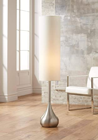 Moderne Mid Century Modern Floor Lamp Brushed Steel Droplet Tall Cotton Cylinder Shade For Living Room Bedroom Office Possini Euro Design